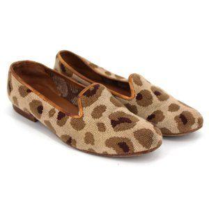 Stubbs & Wootton Leopard Needlepoint Loafers 6.5